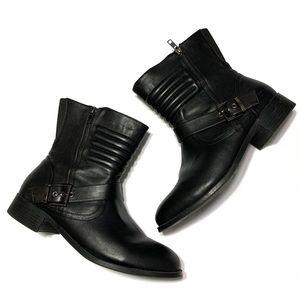 Torrid Black Leather Moto Buckle Ankle Booties 11W